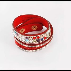 Stackable Beadwork Leather Like Bracelet